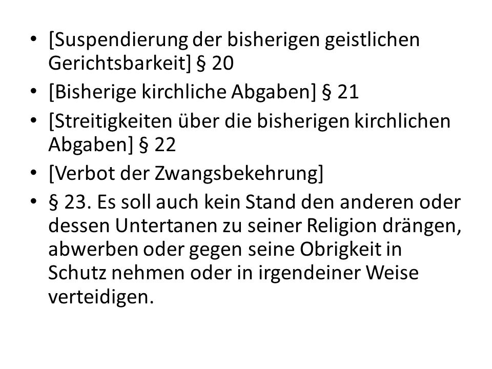 [Suspendierung der bisherigen geistlichen Gerichtsbarkeit] § 20